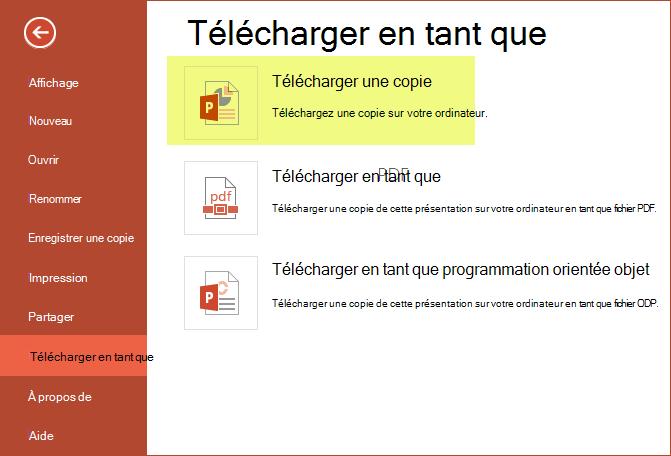Utiliser Télécharger une copie pour enregistrer la présentation sur votre ordinateur