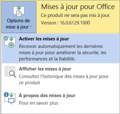 Cliquez sur Options de mise à jour, puis sur Activer les mises à jour