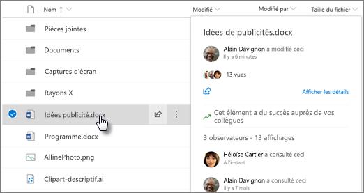 Capture d'écran de la carte de pointage de fichier qui s'affiche lorsque vous pointez sur un fichier dans OneDrive ou SharePoint