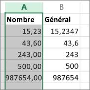 exemple d'affichage de nombres avec différents formats, tels que Nombre et Général.