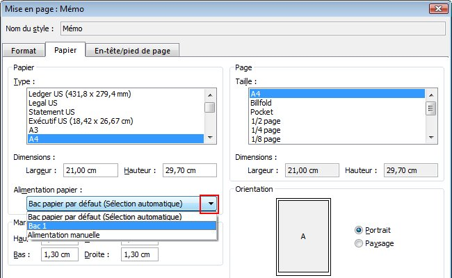 Under Paper source, select the paper source.