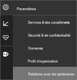 Capture d'écran du menu paramètres avec «Relations de partenaire» mis en surbrillance