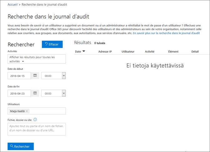 Rapport d'activité d'Office365 présentant toute l'activité d'un partenaire Extranet