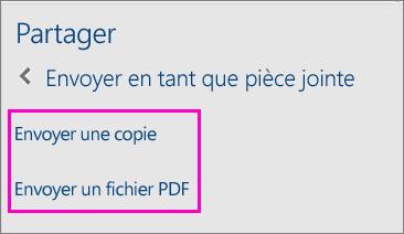 Image de deux options dans le volet de partage pour l'envoi par courrier électronique d'un document comme copie ou PDF
