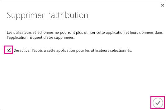 Boîte de dialogue Azure AD avec la case à cocher que vous devez sélectionner si vous voulez supprimer l'approbation de service pour cet utilisateur Sélectionnez ensuite l'icône dans le coin inférieur droit pour terminer.