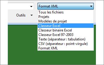 Sélectionnez le classeur Excel dont vous voulez les données