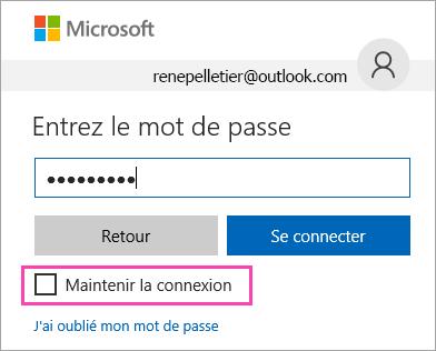 Capture d'écran de la case à cocher «Maintenir la connexion» sur la page de connexion Outlook.com