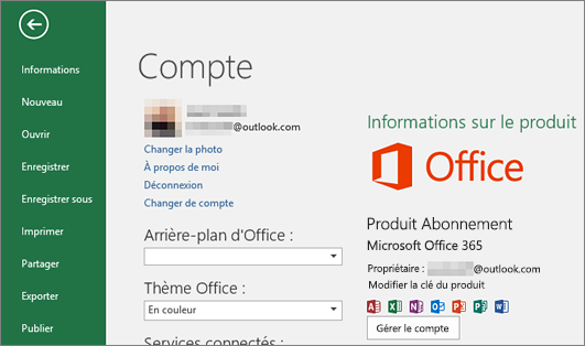 Le compte Microsoft associé à Office apparaît dans la fenêtre Compte d'une application Office
