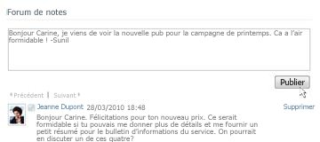 Zone de commentaires SharePoint