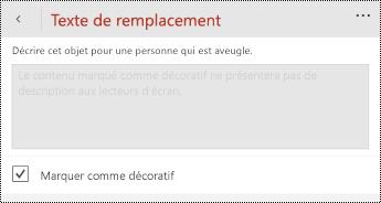 Option marquer comme décoratif sélectionnée dans la boîte de dialogue texte de remplacement de PowerPoint pour Windows Phone.