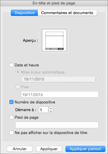 Boîte de dialogue En-tête et pied de page dans PowerPoint2016 pour Mac