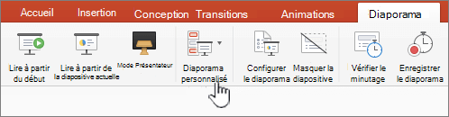 Diaporama personnalisé bouton lecture