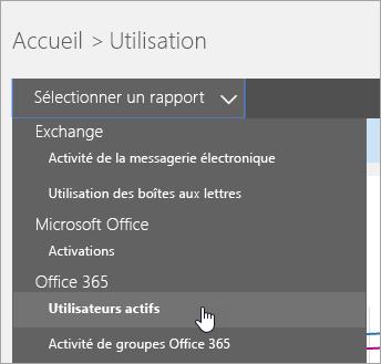 Dans la liste déroulante «Sélectionner un rapport», cliquez sur «Utilisateurs actifs».