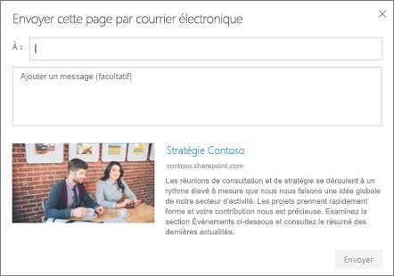 Boîte de dialogue Envoyer par courrier électronique