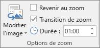 Groupe Options du zoom sous l'onglet Mise en forme pour un zoom de section ou de diapositive dans PowerPoint