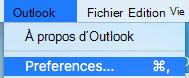 Affichage des préférences Outlook