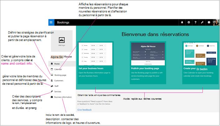 Page d'accueil de Bookings avec espace du logo et volet de navigation gauche mis en évidence