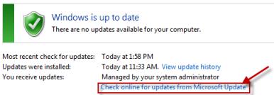 Rechercher en ligne des mises à jour à partir de Microsoft Update