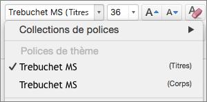 Capture d'écran montre les options de polices de thème pour les titres et corps disponibles via le contrôle de liste déroulante police dans le groupe police sous l'onglet Accueil.