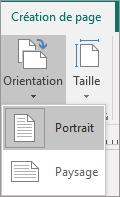 Onglet Création de page avec l'option Orientation sélectionnée et l'option Portrait ou Paysage mise en évidence.