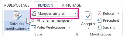 Extrait de code de révision: Interface des Marques simples
