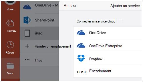 Capture d'écran de l'ajout d'un emplacement dans PowerPoint pour iPad.
