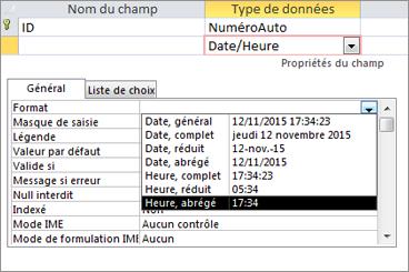 Propriété Format d'un champ Date/Heure