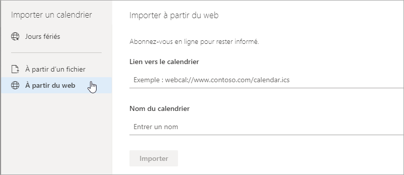 Capture d'écran de l'importation à partir de l'option web