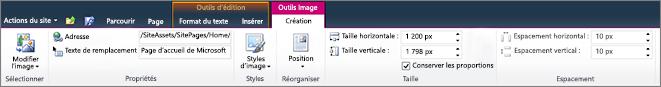 L'onglet Outils Image de l'onglet vous permet de définir de taille, style, la position et le texte de remplacement pour les images.