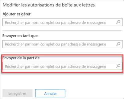 Capture d'écran: autoriser un autre utilisateur à envoyer du courrier de la part de cet utilisateur
