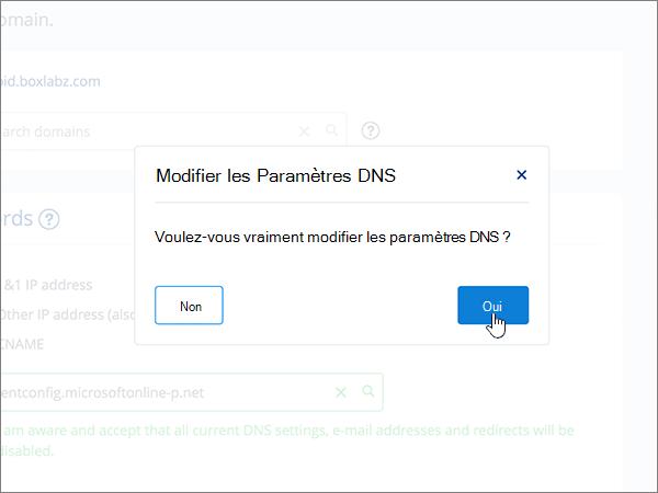 Sélection de l'option Yes (Oui) dans la boîte de dialogue Edit DNS Settings (Modifier les paramètres DNS)