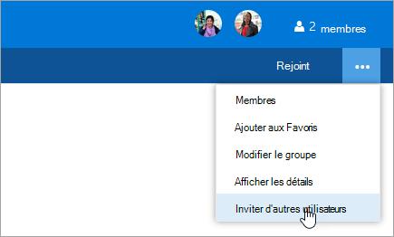 Capture d'écran du bouton inviter d'autres personnes dans le menu paramètres du groupe.