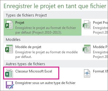 Enregistrer un fichier Project en tant que classeur Microsoft Excel