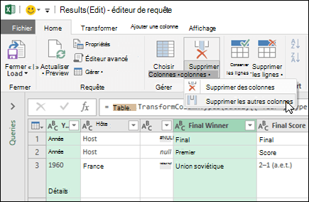 Power Query > Query Editor > Remove Columns