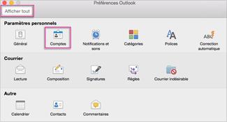Boîte de dialogue Préférences Outlook