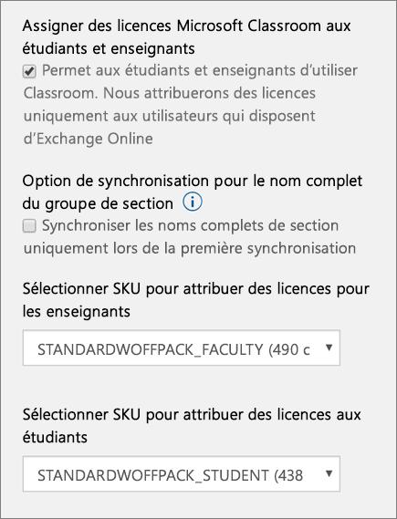 Capture d'écran de la sélection d'une référence SKU et d'une licence pour les nouveaux utilisateurs dans School Data Sync