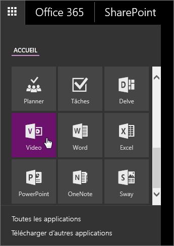Capture d'écran du volet des applications avec la vignette Video active.