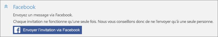Gros plan de la section Facebook de la boîte de dialogue Ajouter une personne avec le bouton Envoyer l'invitation via Facebook.