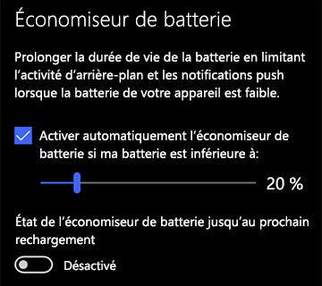 Image des paramètres de l'économiseur de batterie
