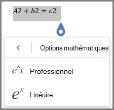 Affichage des formats des équations mathématiques