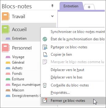 Capture d'écran montrant comment fermer un bloc-notes dans OneNote2016.