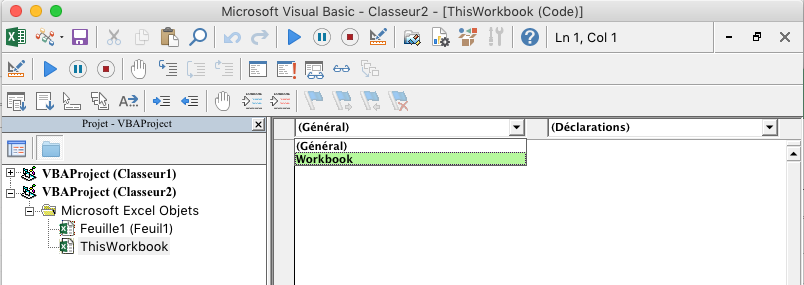 Éditeur Visual Basic avec liste déroulante de sélection d'objet