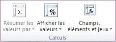 Outils de tableau croisé dynamique: le groupe Calculs dans l'onglet Options