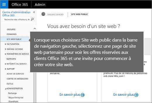 Dans Office365, sélectionnez Site web public