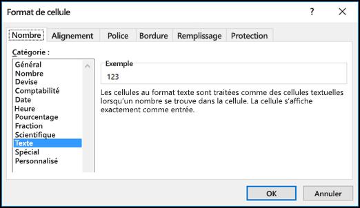 Boîte de dialogue Format de cellule affichant l'onglet Nombre et l'option Texte sélectionnée