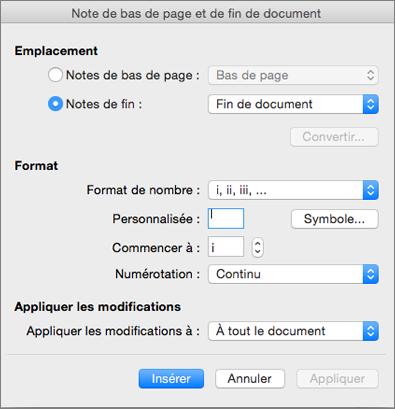 Boîte de dialogue Note de bas de page et de fin de document