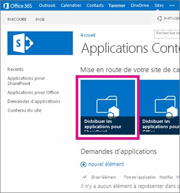Vignette Distribuer des applications pour SharePoint sur un site de catalogue d'applications