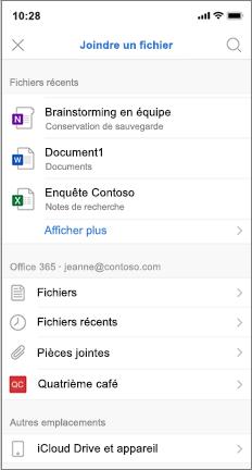 Écran mobile avec liste des fichiers récents et iCloud