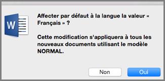 Langue par défaut dans Office pour Mac