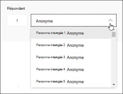 Afficher une liste déroulante de personnes interrogées dans Microsoft Forms